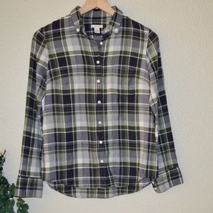 J Crew Navy/Green Plaid Button Down Shirt Sz 2
